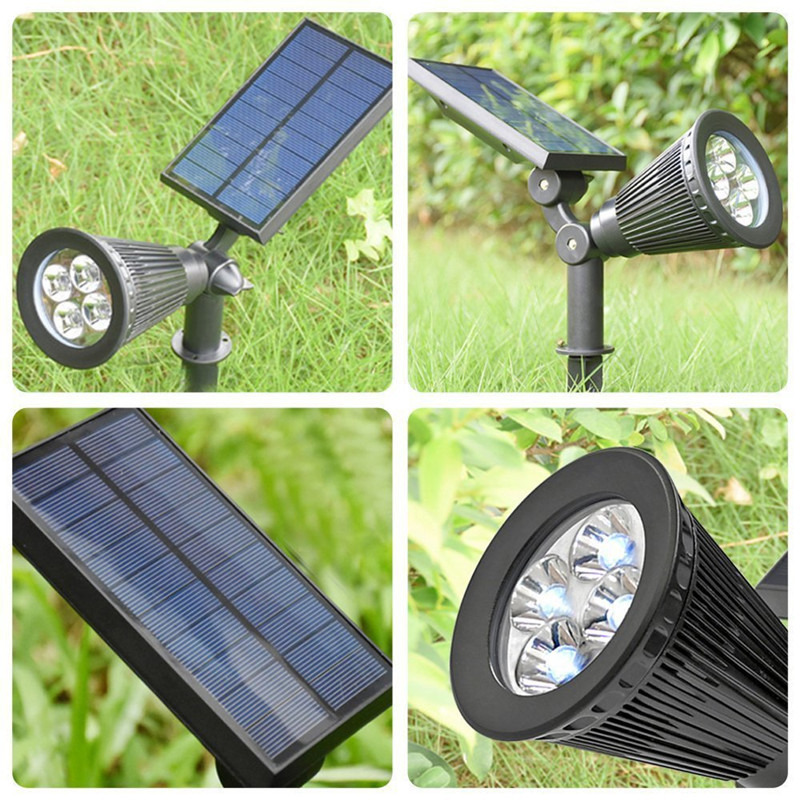 Ground Wall Mounted Kanyee 2 Pack Solar Spot Lights 4 Led Outdoor Waterproof Garden Patio Yard Driveway Wall Tree Lawn Flower Beds Landscape Wireless Spotlight Landscape Lighting Outdoor Decor