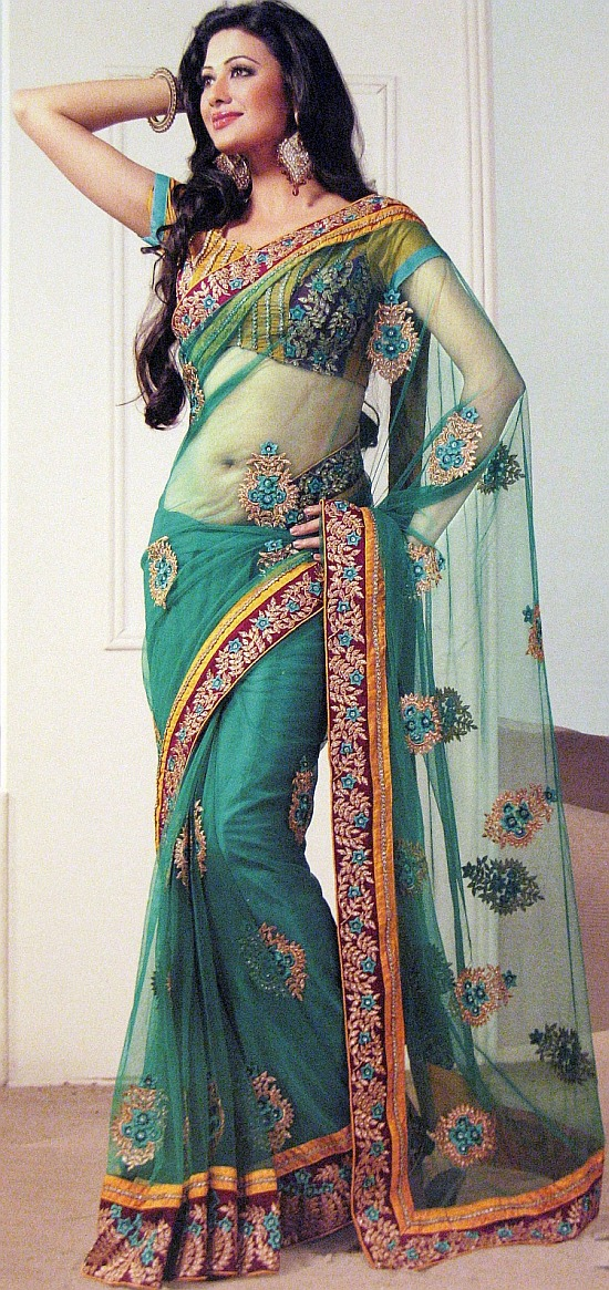 Embroidered Teal Trendy Saree Party Designer Net Elegant