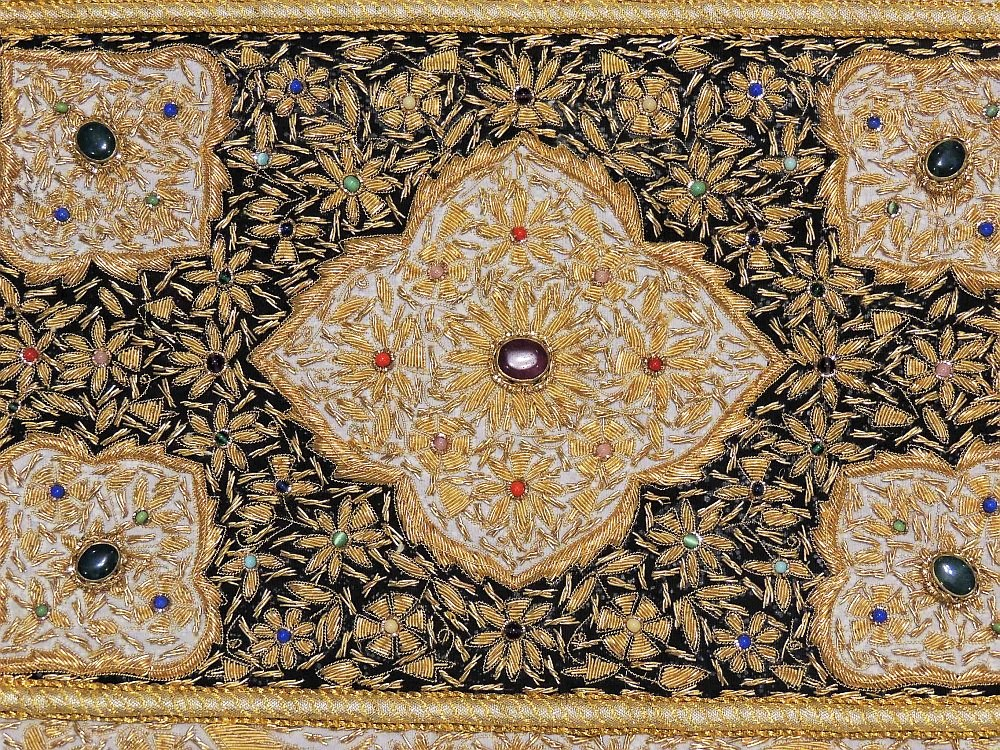 Kashmir Zardozi Jewel Carpet Rug Handmade Traditional