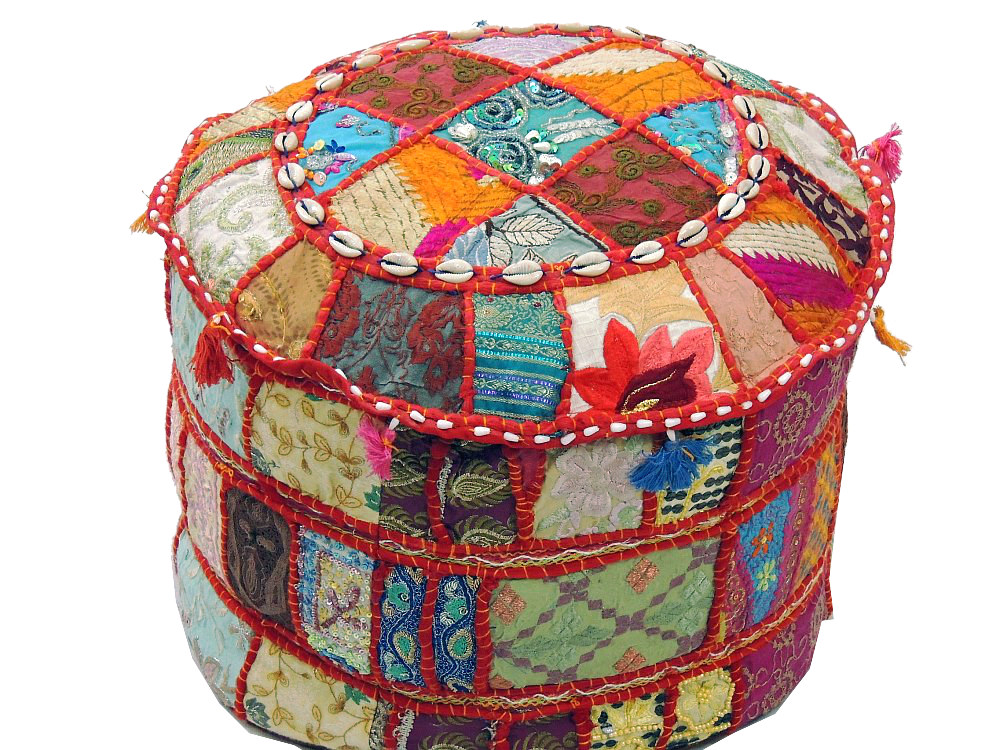 Round Ottoman Patchwork Pouf Cocktail Living Room