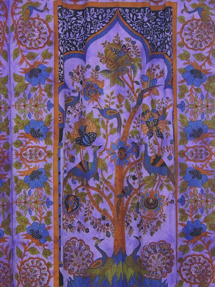 Cotton Fabric Indian Curtains 2 Tree Of Life Block Print
