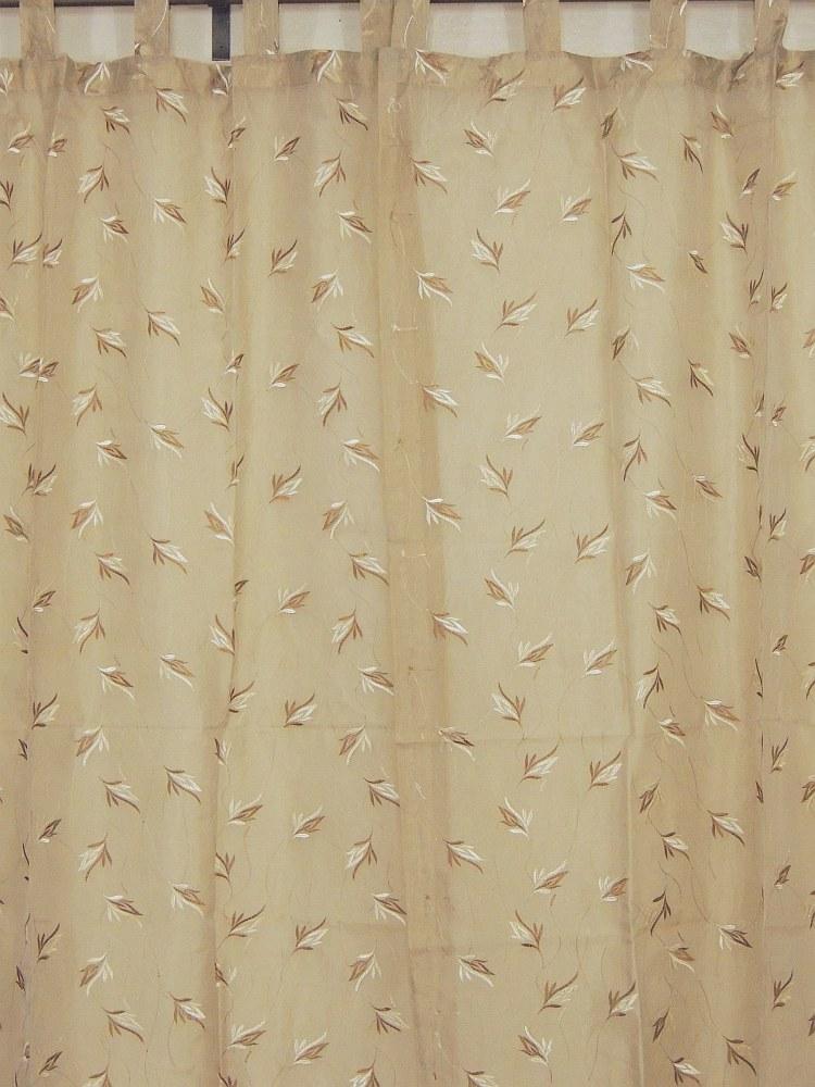 Tab Top Sheer Panels 2 Embroidered Ecru Decorative Window