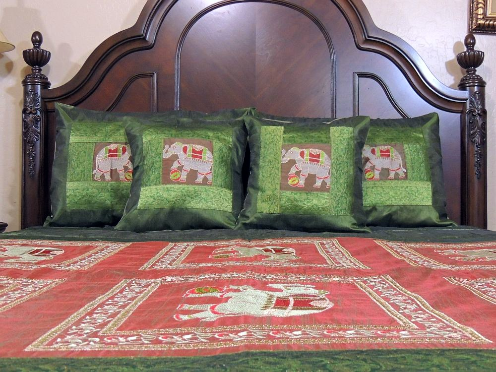Elephant Embroidered Bedding Set Indian Sari Coverlet 5P