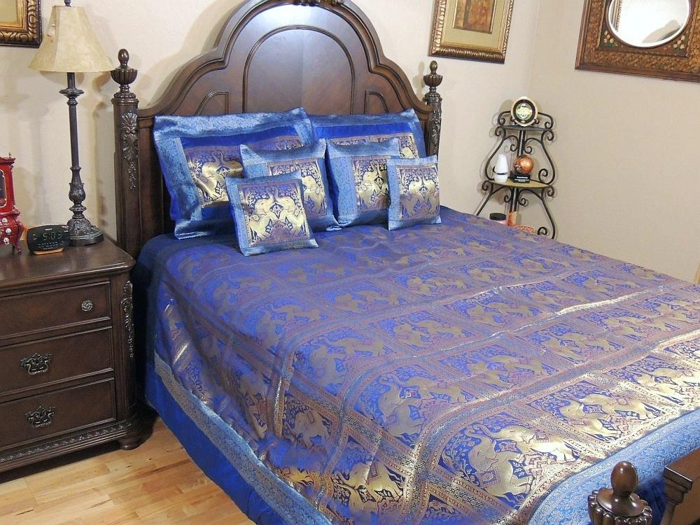 Elephant India Bedroom Decor 7P Zari Blue Brocade Duvet