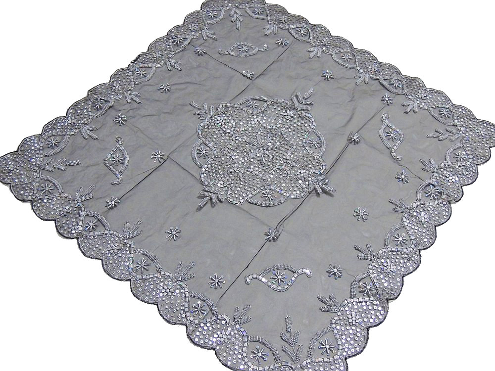 Superior Luxury Floral Beaded Tablecloth India Handcrafted Elegant Designer Table  Linen