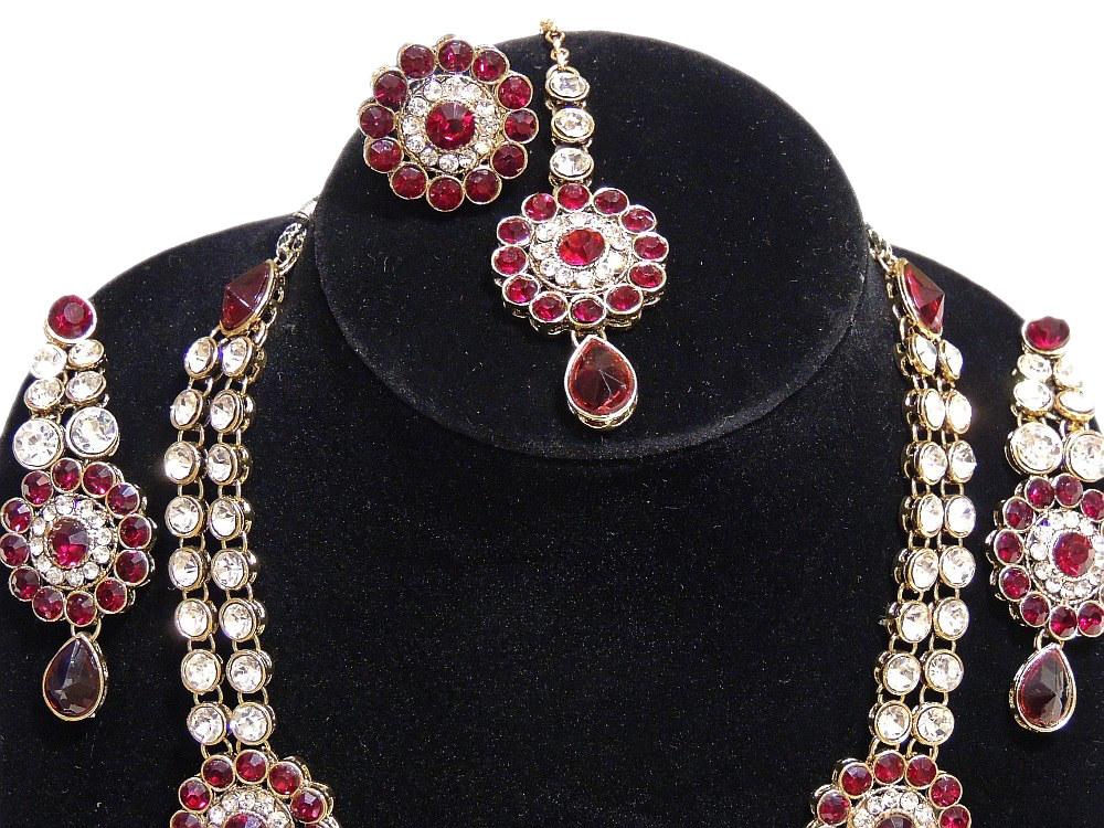 Fashion Jewelry Set India Red Long Kundan Necklace