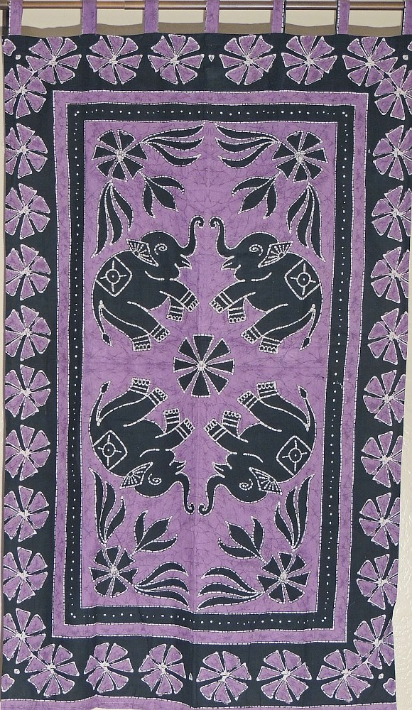 Purple Elephant Wall Hanging Indian Cotton Print Tapestry