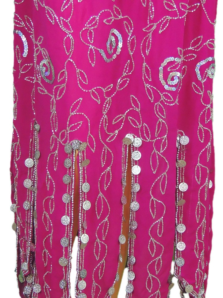 15c62ff9b32d Beautiful hand beaded 2 PC set of Belly dancing costume set including halter  top (Choli or Bra) and long skirt in hot Pink / Magenta with extensive bead  ...