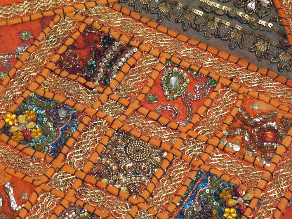 Orange Sari Kundan Cushions 2 Decorative Couch Bed Sofa