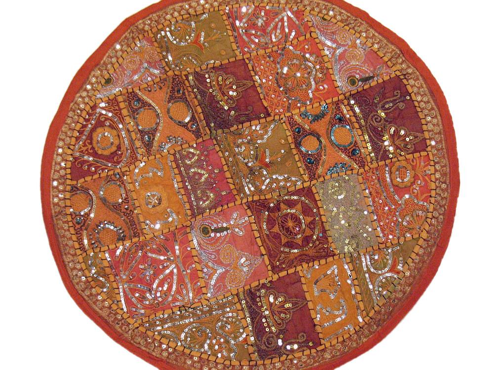 Luxury Indian Floor Cushion Orange Decor Big Round Chair