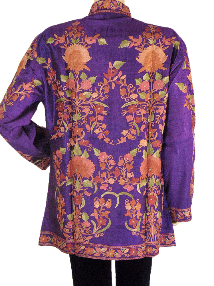 Silk Womens Long Jacket Purple Embroidered Formal Kashmir