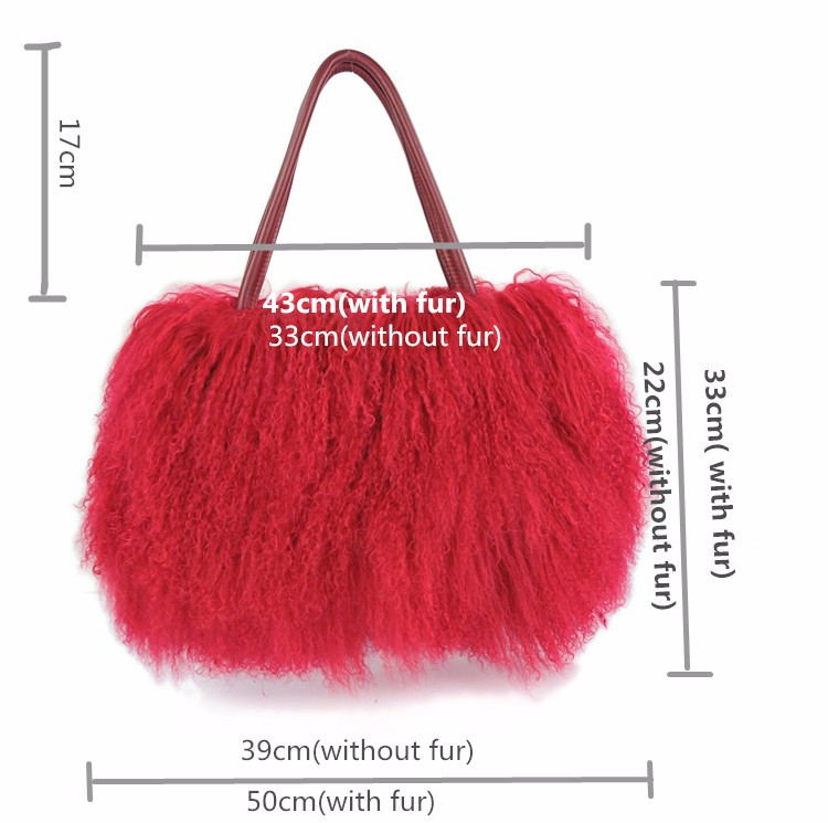 New large real long lamb fur mongolian fur bag handbag on sale(multi ... 2862191242eff