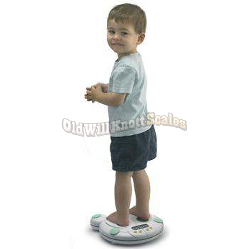 Salter 914 in use, weighing a toddler