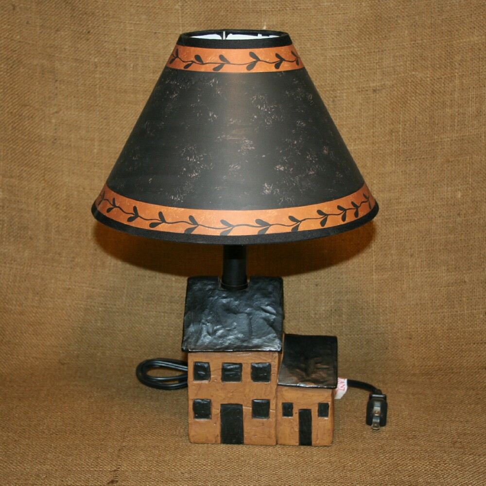 Country Lamps Lighting: Saltbox House Brown Resin Table Lamp Primitive Country