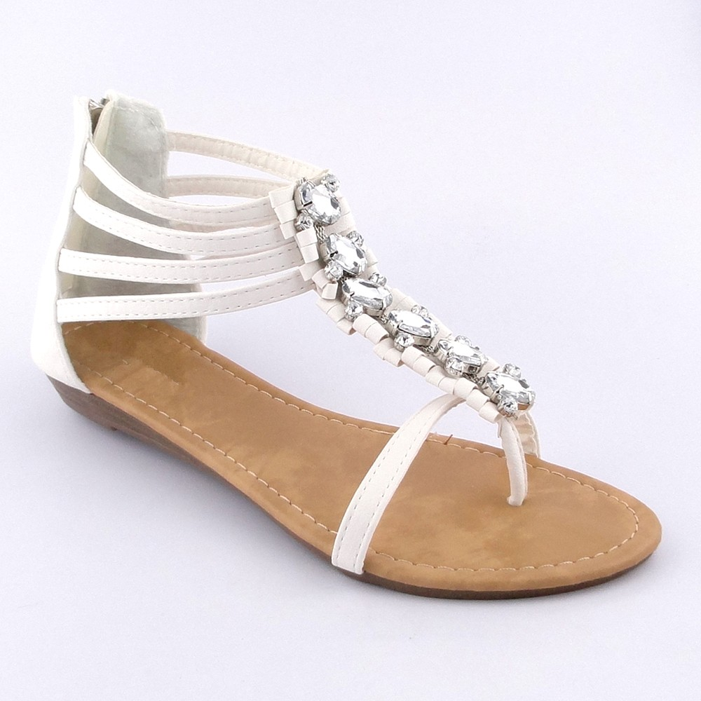 Women's T-Strap Gladiator Flat Thong Sandals W ...