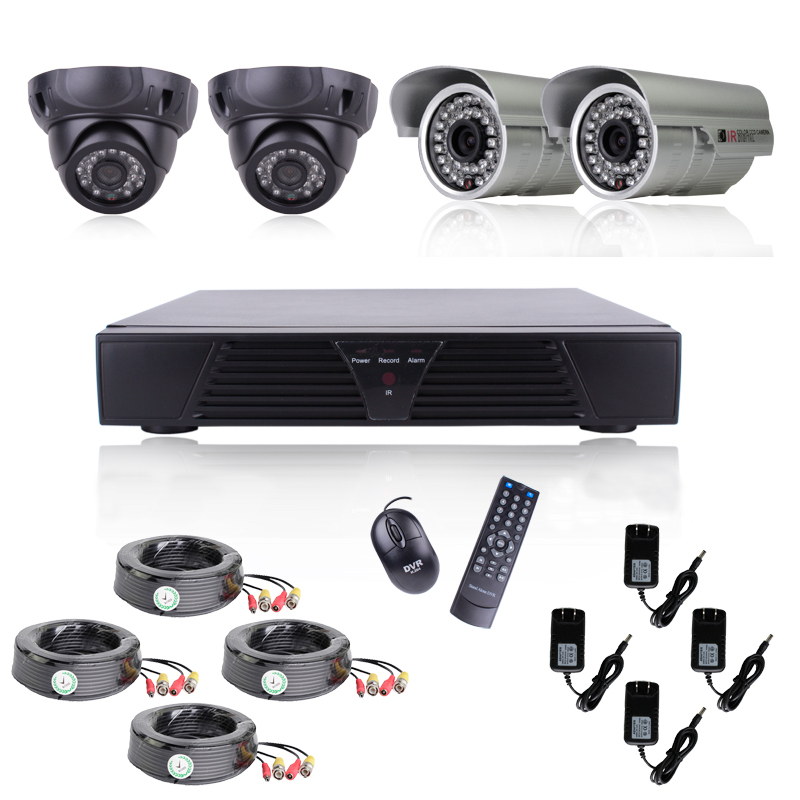 4CH CCTV DVR Full D1 Motion Detection 700TVL Color Camera Home Security System