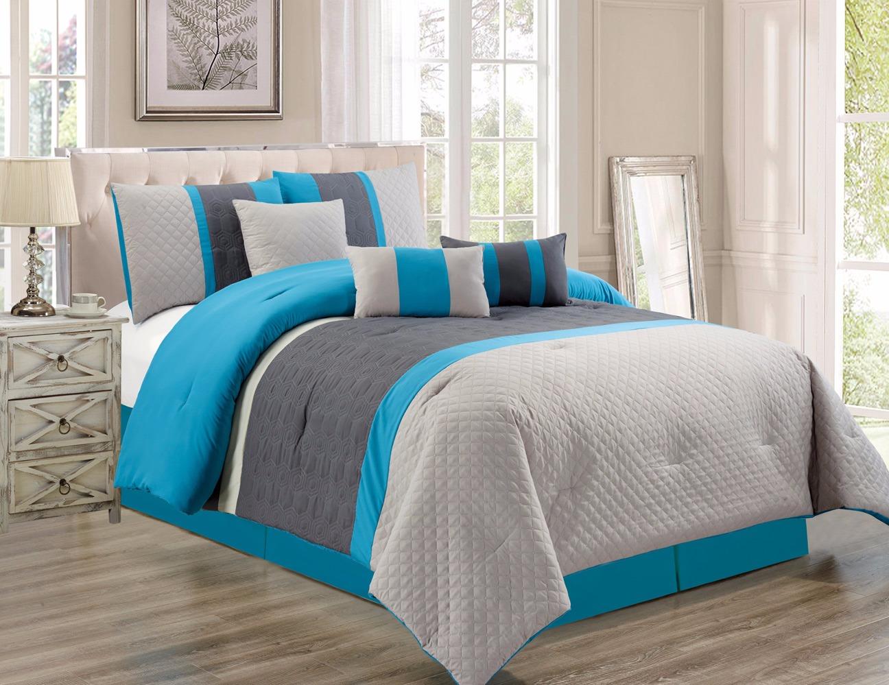 7 Pc Oversize Blue Gray Embossed Comforter Set Cal King