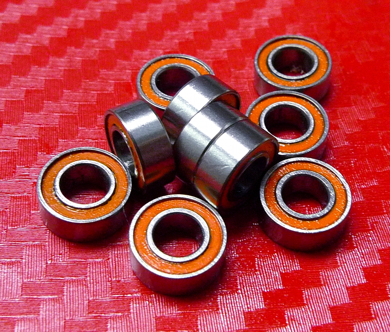 MR84-2RS ORANGE MR84RS 10 PCS Rubber Sealed Ball Bearing 4x8x3 mm