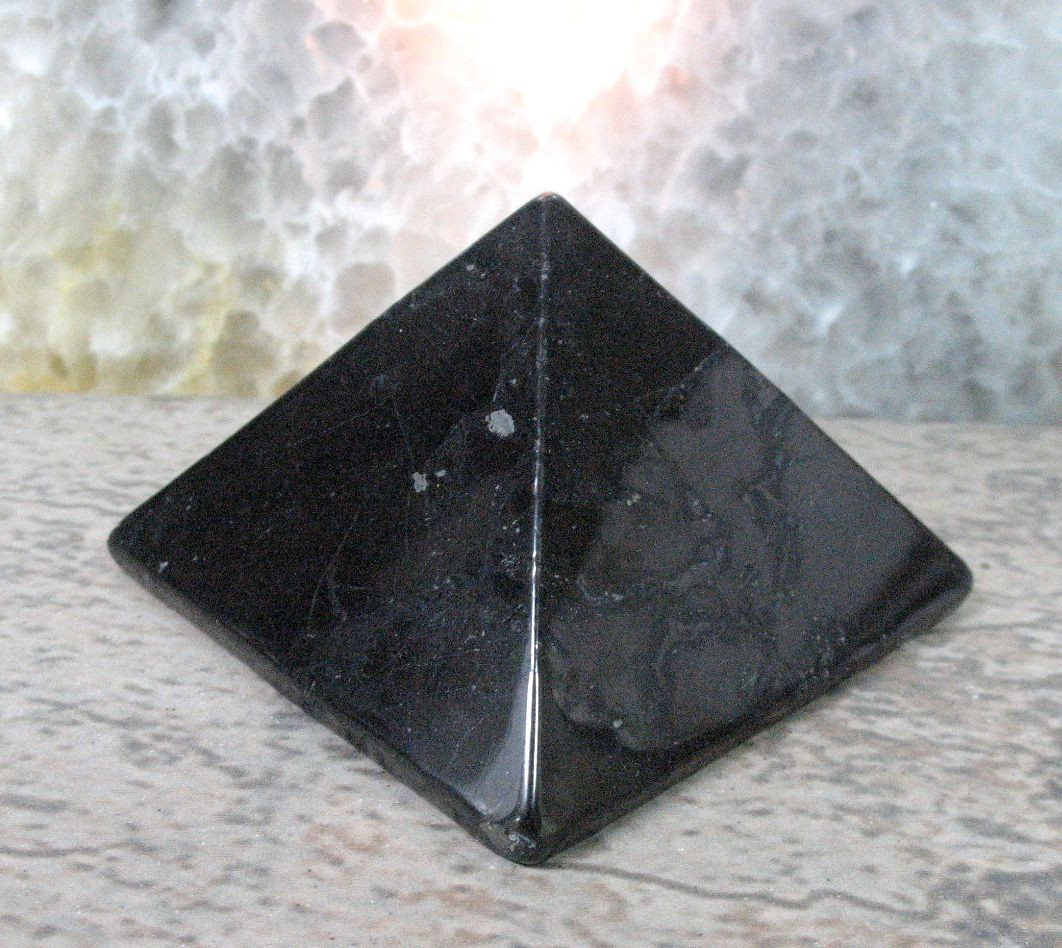 Carved Sacred Geometry Healing Stone Crystal E0308 SHUNGITE Pyramid M S L