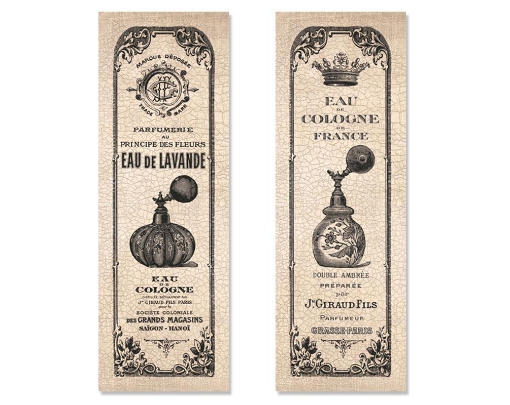 2 Vintage French Perfume Cologne Bottle Hotel Bathroom Art