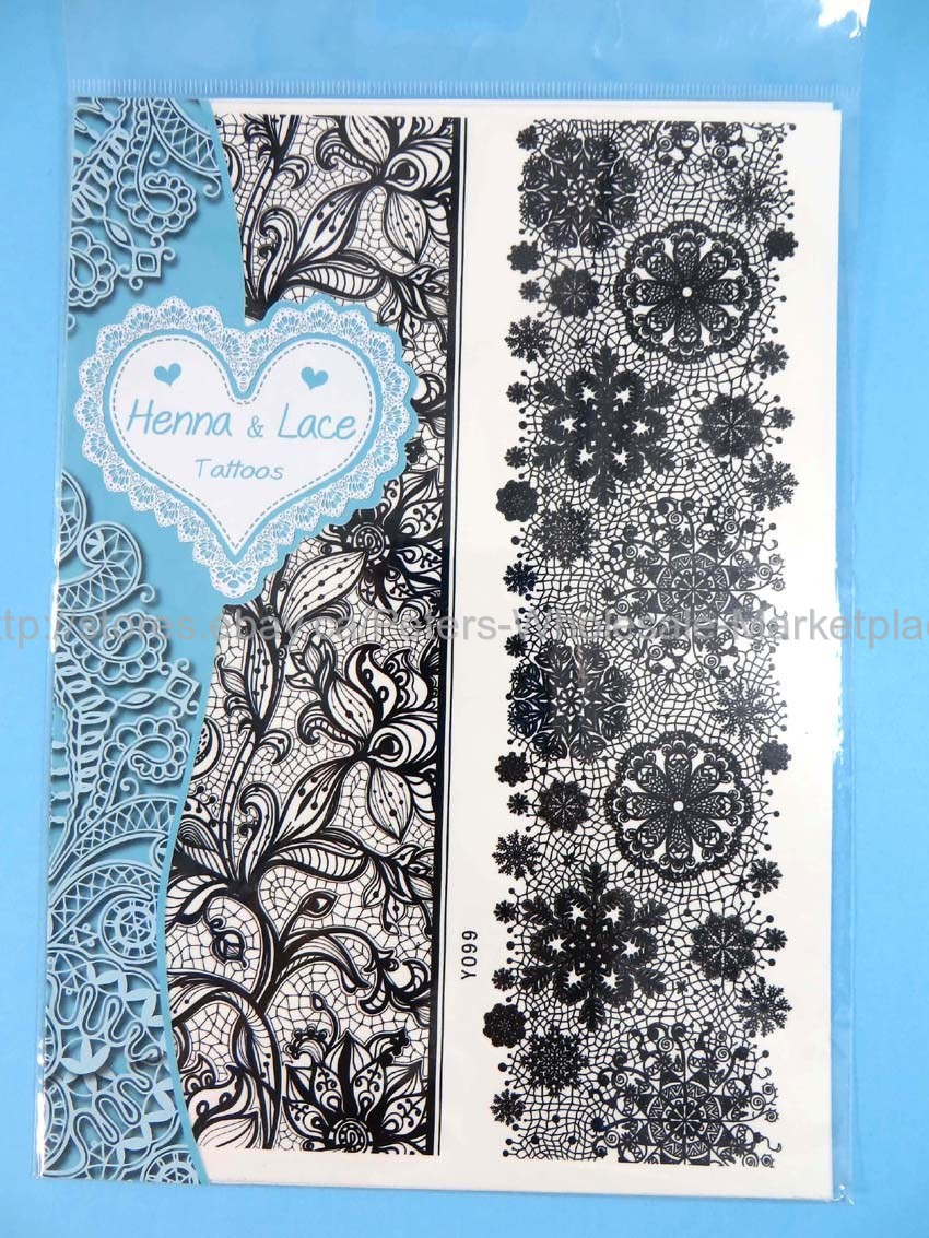Us Sellergarter Lace Tattoo Wristband Black Henna Lace Temporary