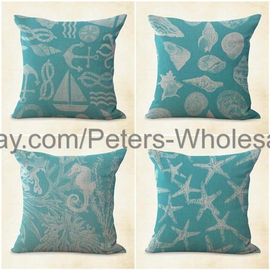 4pcs discount throw pillows cushion covers coral reef sea star beach