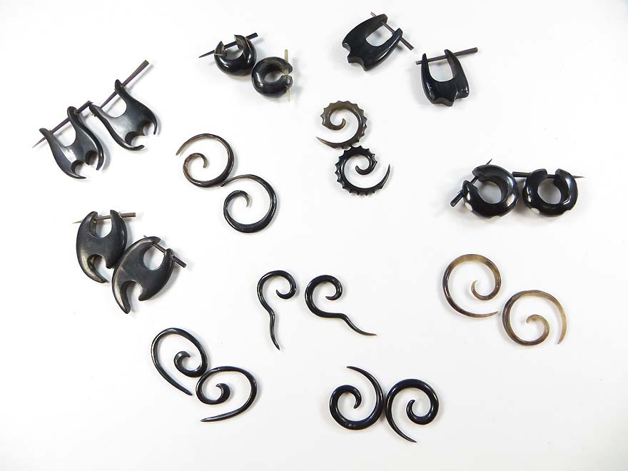 10 pairs Horn Body Piercing Jewelry Tribal Gothic Punk Rave Streetstyle Earrings