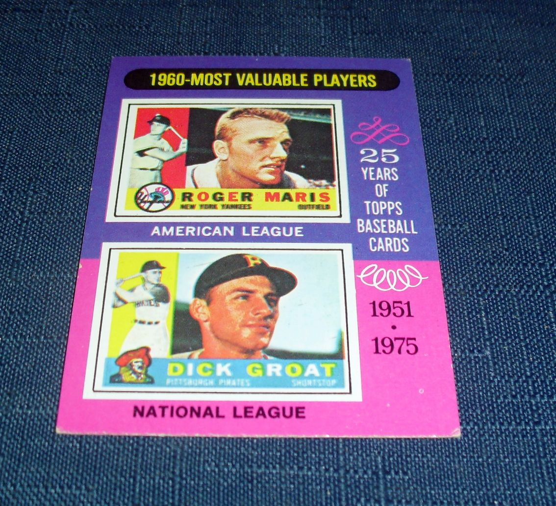 1975 TOPPS BASEBALL CARD 1960-MOST VALUABLE PLAYERS ROGER ...