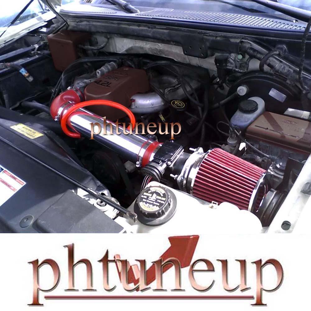 RED DRY FILTER FOR 97-03 Ford F150 Pickup 4.2L V6 SPORT AIR INTAKE KIT