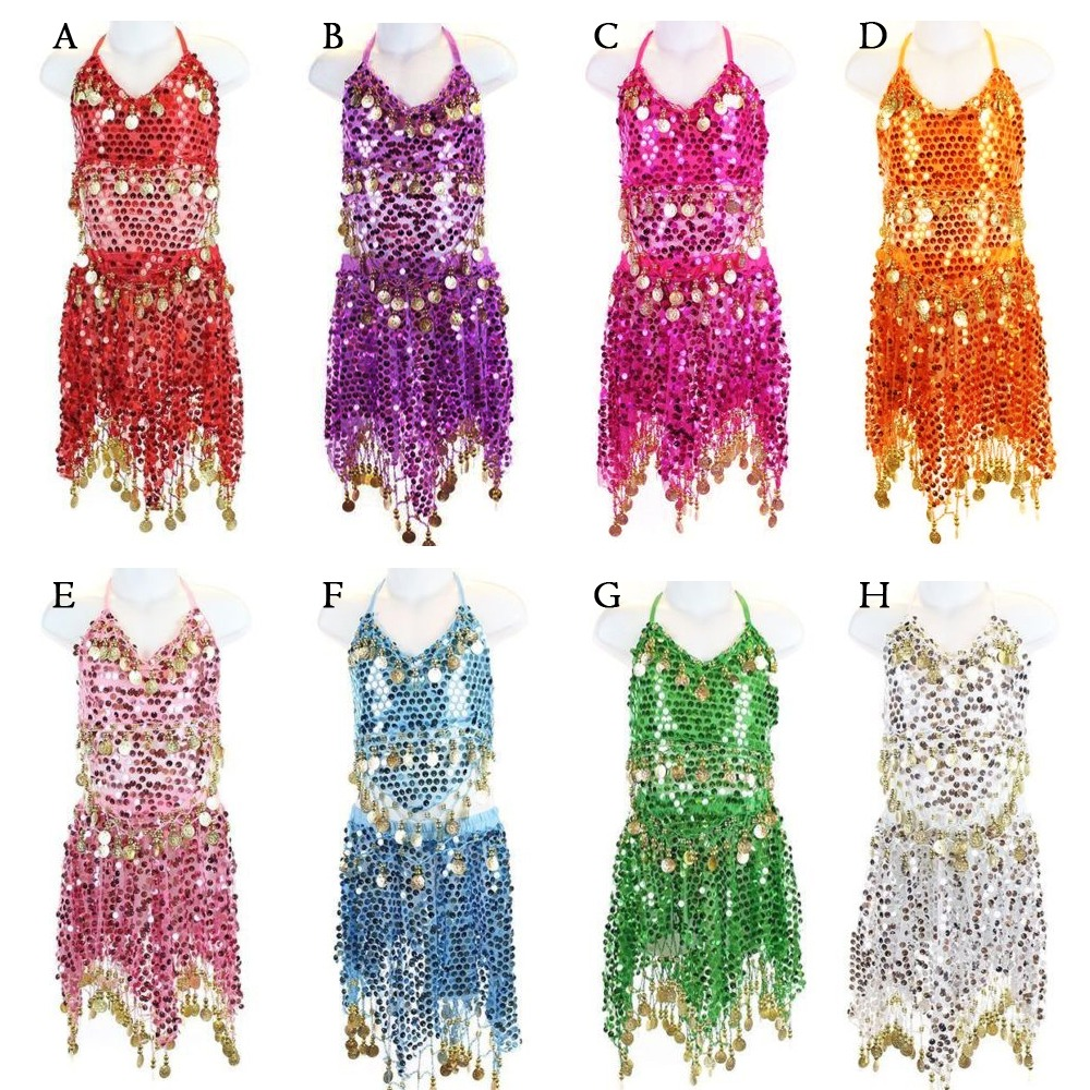 Details about Girls Kids Belly Dance Dress Outfit Top Pants Bollywood  Halloween Dance Costume