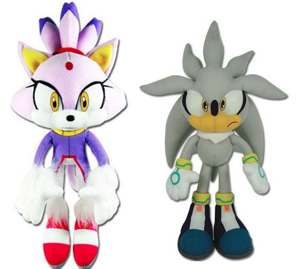 Real Ge Sonic The Hedgehog Stuffed Plush Toys Set Of 2 Blaze The Cat Silver Ebay