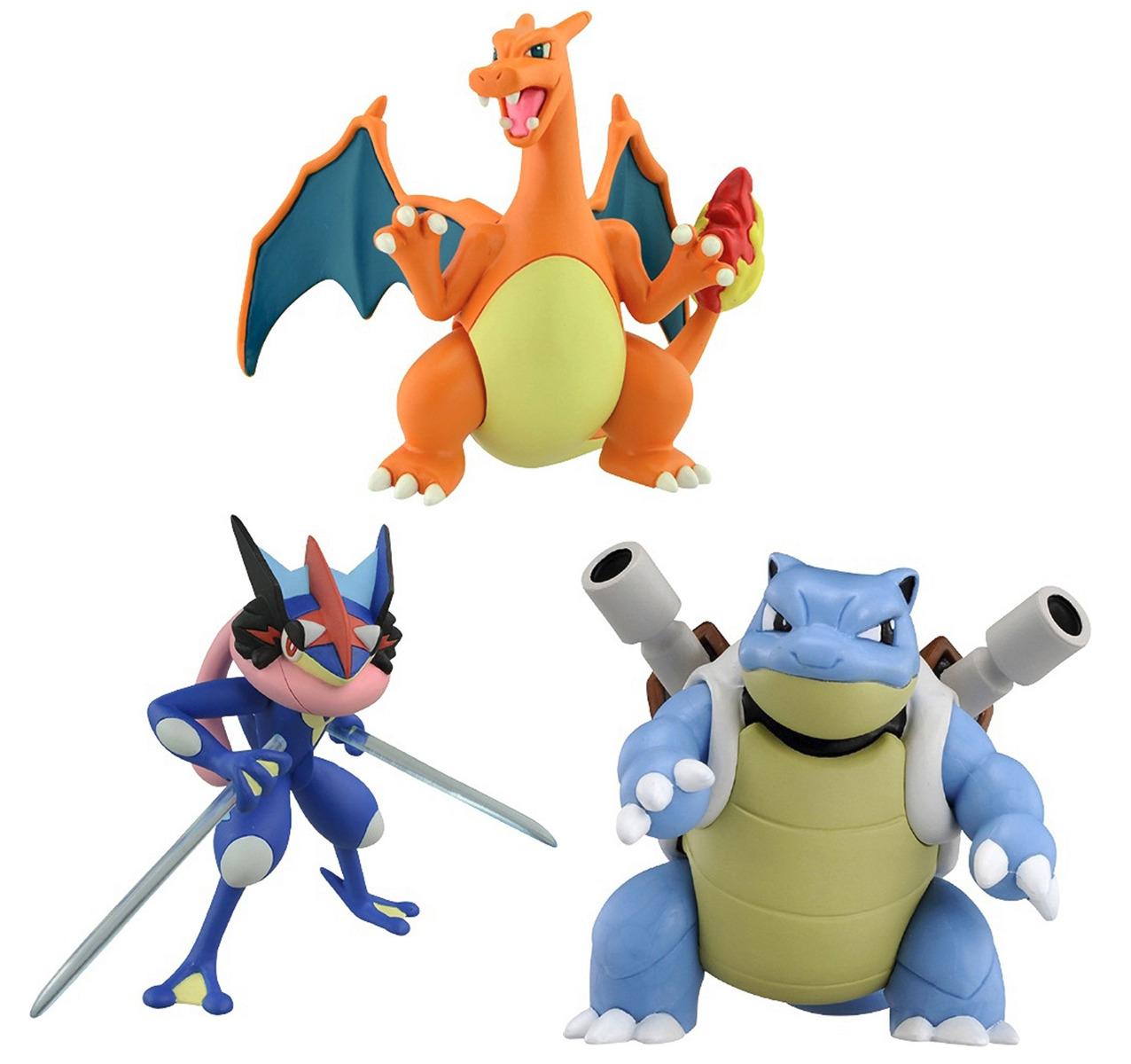 set of 3 pokemon figures esp 02 charizard esp 04 ash s greninja esp
