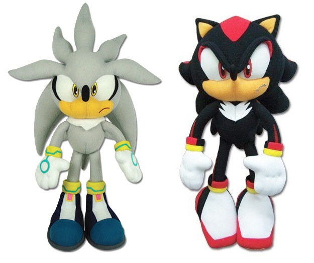 new set of 2 sonic stuffed plush doll toys 13 silver sonic 12