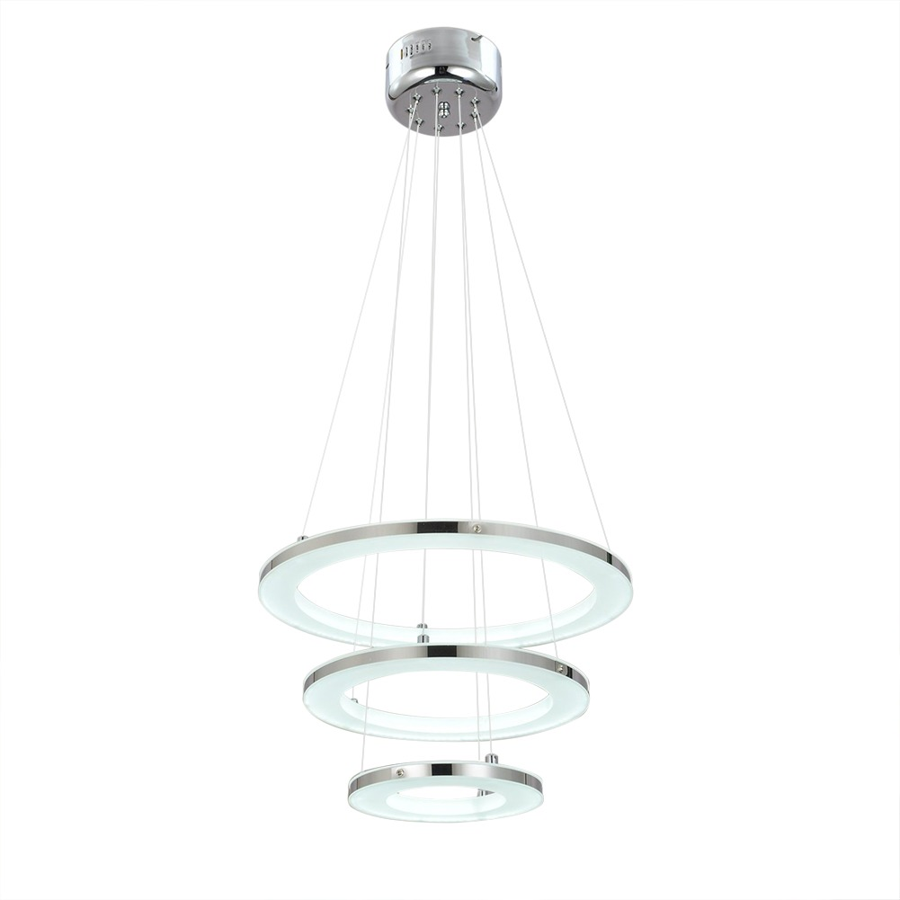 Acrylic Led Ring Chandelier Pendant Lamp Ceiling Light: Modern 3 Ring Acrylic LED Chandelier Pendant Lamps Warm