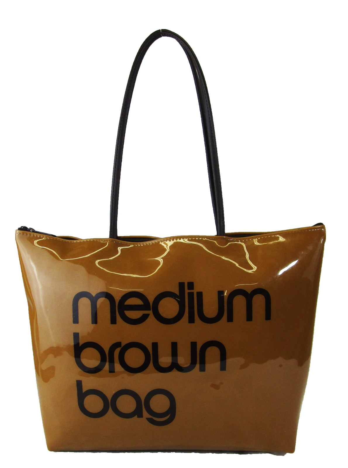 18f8ec7531efa Details about ** BLOOMINGDALES Medium Brown Bag Brown Plastic Zip Top Tote  Bag Msrp $37.00