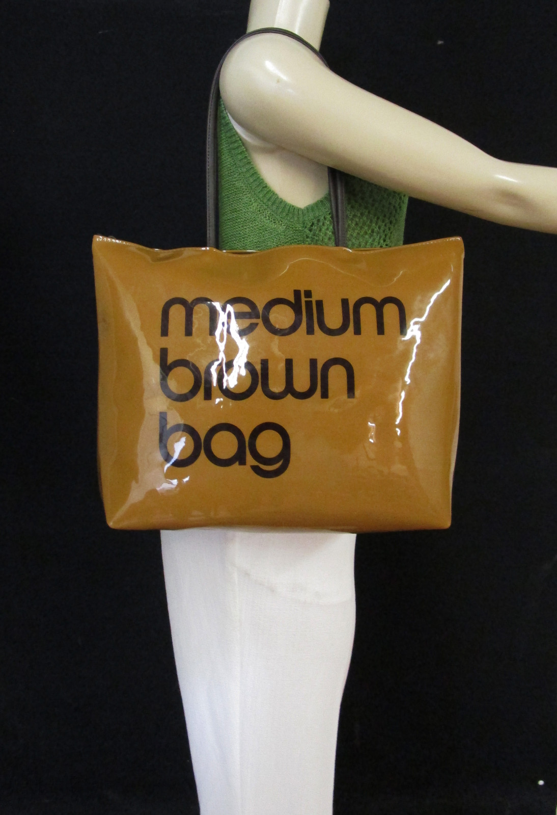 1f86ba363bb1 100% Authentic BLOOMINGDALES Medium Brown Bag Brown Plastic Zip Top Tote Bag