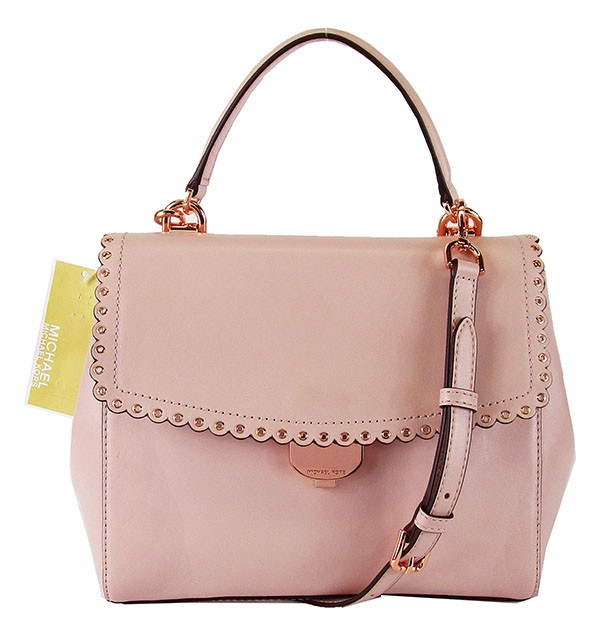 Details about MICHAEL KORS AVA Soft Pink Leather Scalloped Crossbody Bag Msrp $328.00