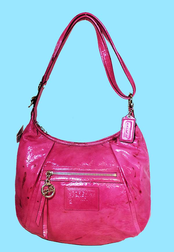 53e122d11a GREAT DEAL 100% AUTHENTIC COACH POPPY PETAL PINK PATENT LEATHER HOBO SHOULDER  BAG