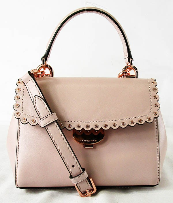 90df367b1d12 Details about MICHAEL KORS AVA Soft Pink Leather XS Scalloped Crossbody Bag  Msrp  228.00