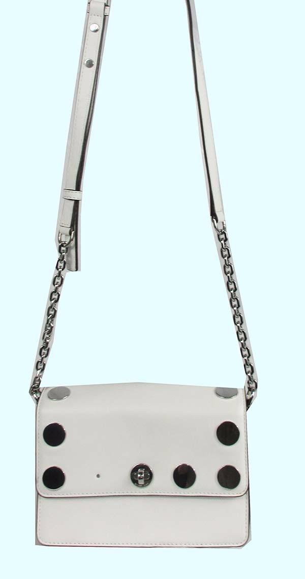 2913f2c39b2b9 Details about MICHAEL KORS RIVINGTON STUD NATALIE Leather Optic White  Crossbody Bag Msrp 298