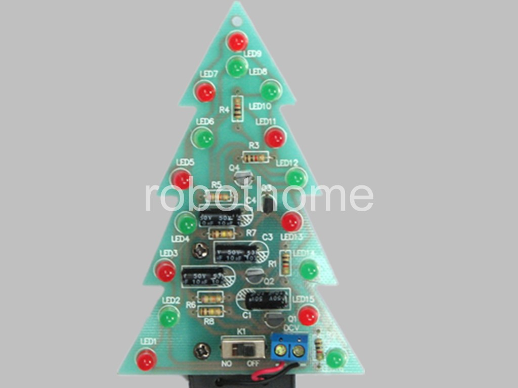 DIY Christmas Tree LED Flashing Light Kit Red Green Flash