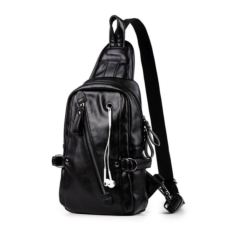 Men Leather Sling Bags Chest Shoulder Bag Crossbody Satchel Backpack Waterproof