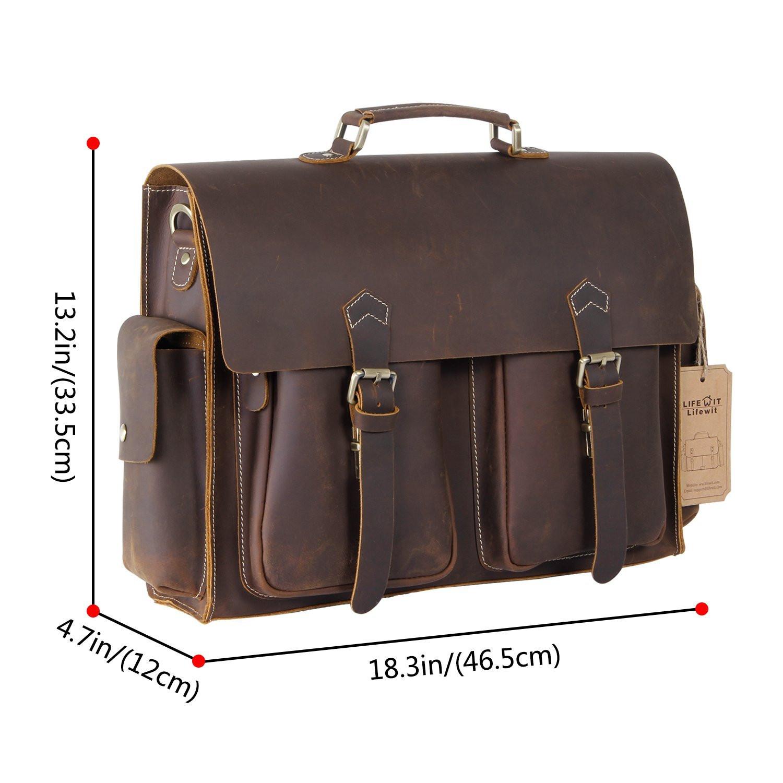 0a15df8627 Details about Lifewit Laptop Messenger Bag Vintage Genuine Leather Canvas  Computer Briefcase