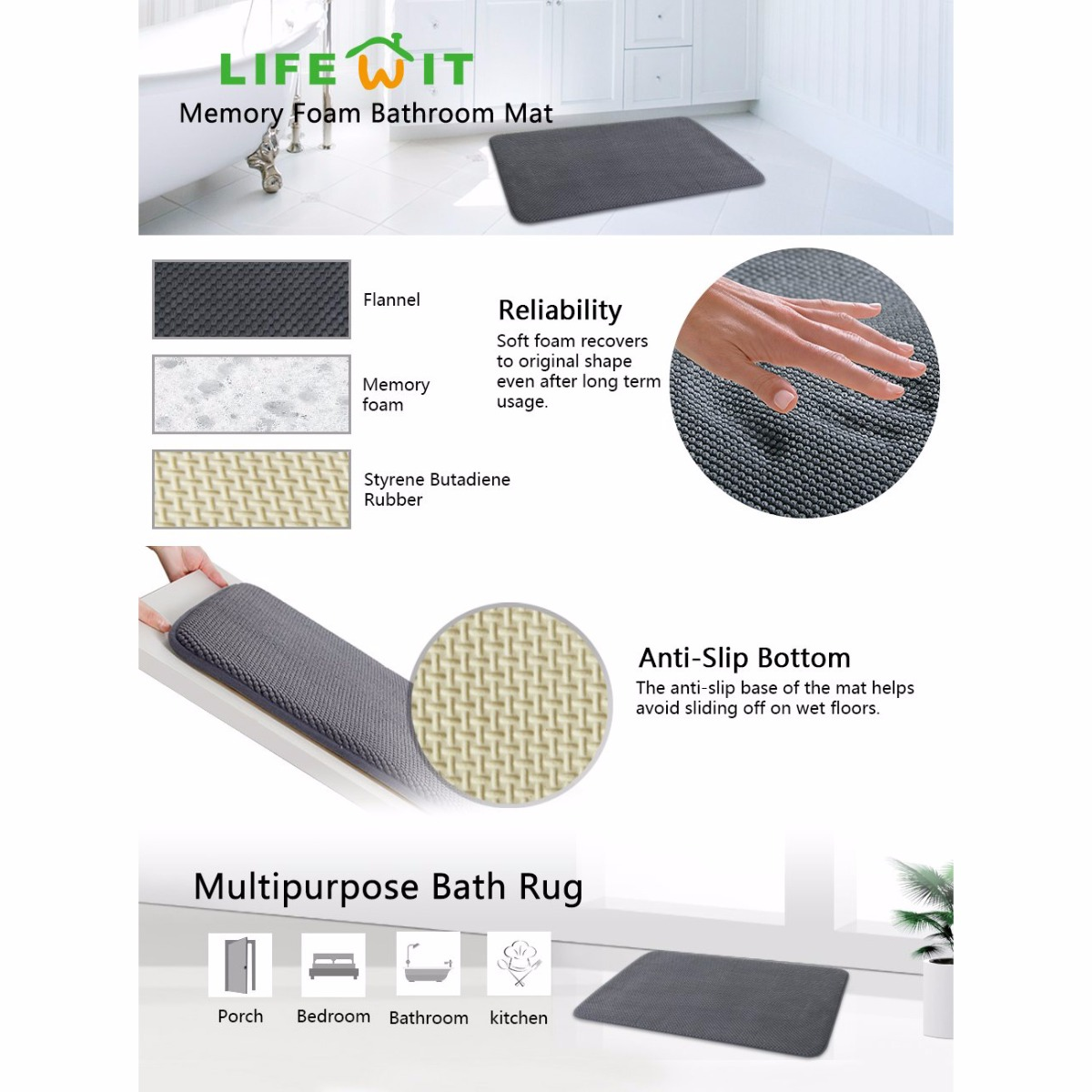 Lifewit Anti-slip Memory Foam Bathroom Mat Kitchen Rug 40D Rubber ...