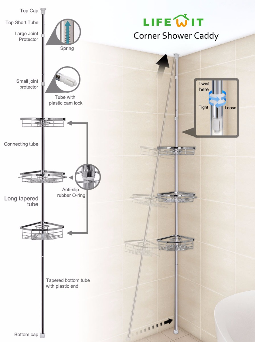 Lifewit Tension Shower Caddy 3 Tier Adjustable Bathroom Shower ...