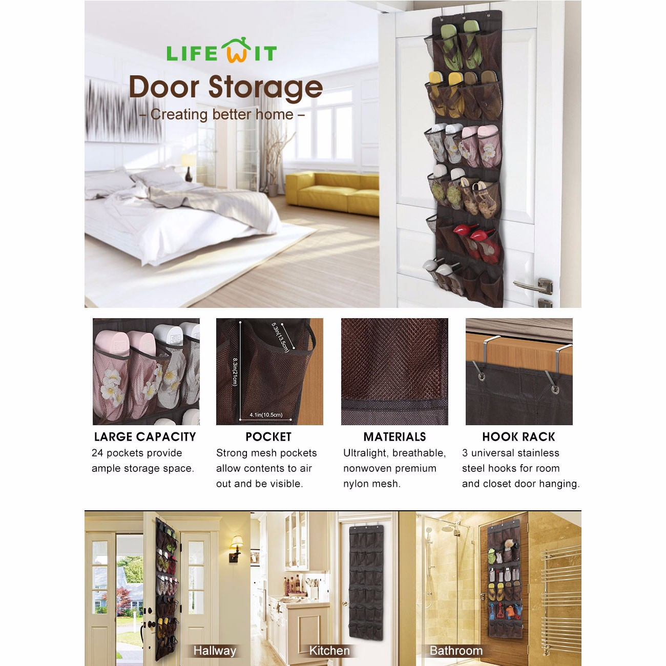 The Lifewit 24-pocket over the door shoe storage offers an easy and efficient way to store your 12 pairs of slippers sandals flats heels or sneakers.  sc 1 st  eBay & Lifewit 24 Breathable Over the Door Shoe Organizer Mesh Pockets ...