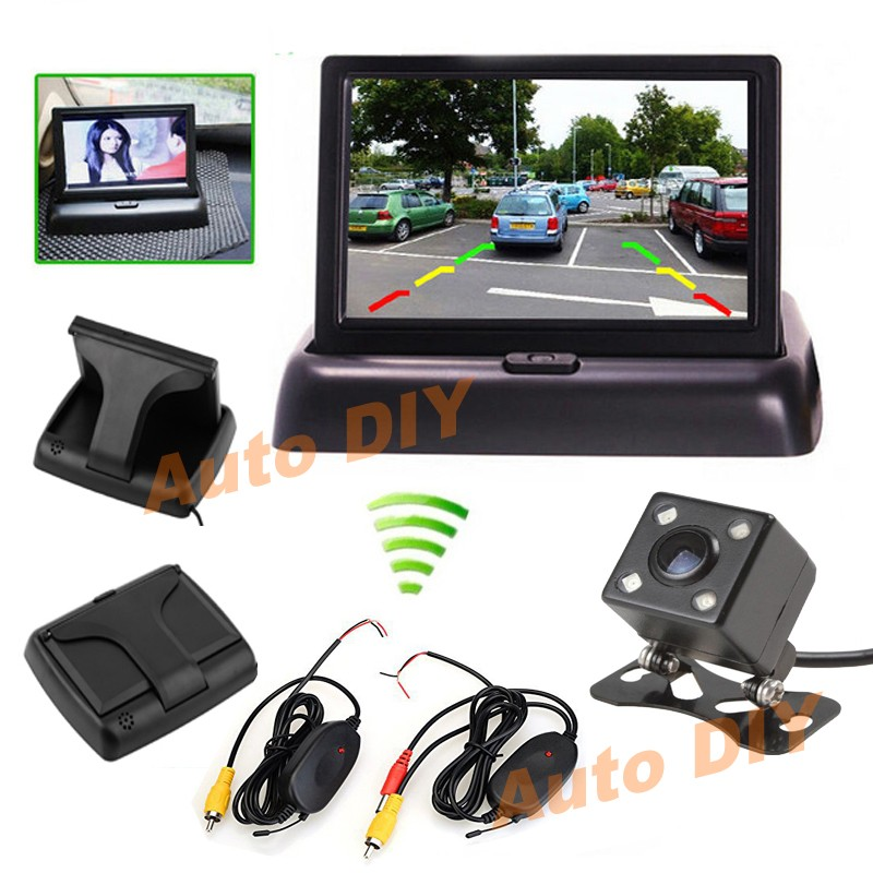 "Wireless Car Rear View Kit White Reverse Backup Camera 4.3/"" Folding Monitor 12V"