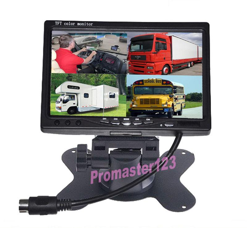 "9/"" TFT LCD Quad Split Car Reversing Monitor 4 CH Video in Remote for Trcuk"