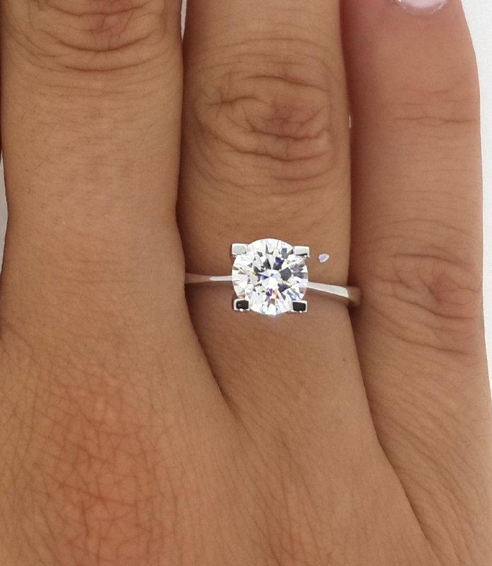 1 1 2 Ct Round Cut D Si1 Diamond Solitaire Engagement Ring
