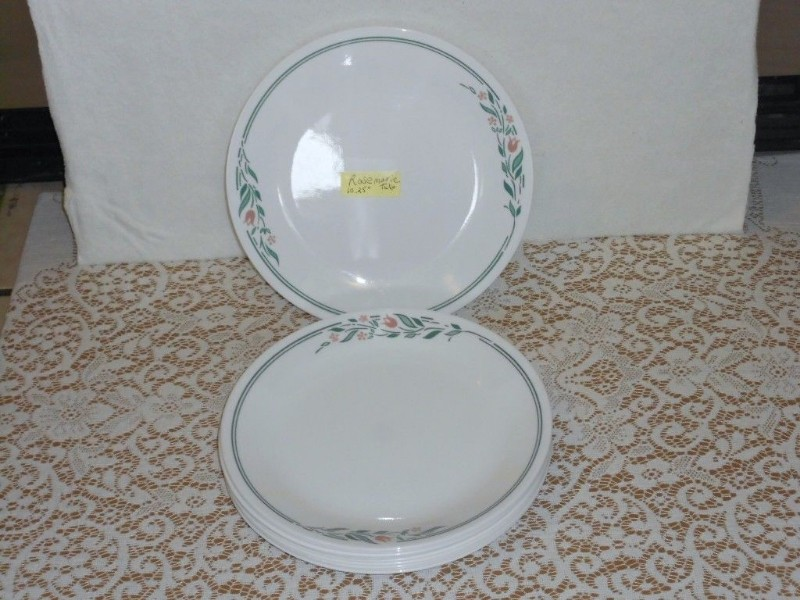 Details about Set 8 Corning Corelle ROSEMARIE Pink Tulip Dinner Plates  10 25 inch Discontinued